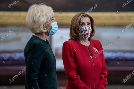 Stock Photo of 60 Minutes correspondent Lesley Stahl interviews Speaker of the House Nancy Pelosi, (D-CA)., in the Rotunda of the U.S. Capitol in Washington, DC. This would be Pelosi's last term as speaker after nearly two decades in power. Interview will air this coming Sunday.