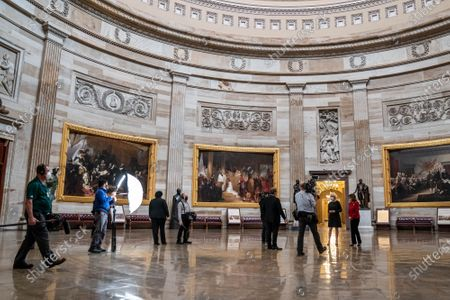 Stock Picture of Sixty Minutes correspondent Lesley Stahl interviews Speaker of the House Nancy Pelosi, (D-CA)., in the Rotunda of the U.S. Capitol in Washington, DC. This would be Pelosi's last term as speaker after nearly two decades in power. Interview will air this coming Sunday.