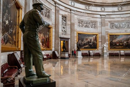 Stock Image of Sixty Minutes correspondent Lesley Stahl interviews Speaker of the House Nancy Pelosi, (D-CA)., in the Rotunda of the U.S. Capitol in Washington, DC. This would be Pelosi's last term as speaker after nearly two decades in power. Interview will air this coming Sunday.