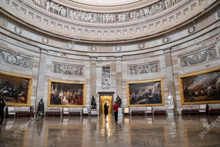 Sixty Minutes correspondent Lesley Stahl interviews Speaker of the House Nancy Pelosi, (D-CA)., in the Rotunda of the U.S. Capitol in Washington, DC. This would be Pelosi's last term as speaker after nearly two decades in power. Interview will air this coming Sunday.