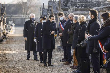 Stock Photo of Hubert Vedrine, Emmanuel Macron