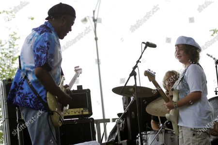 Buddy Guy performs with Quinn Sullivan on the Kidzapalooza stage on day two at Lollapalooza in Chicago, IL