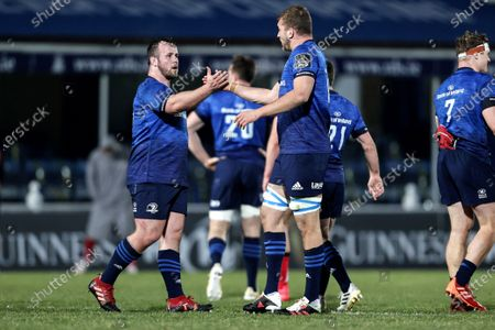 Leinster vs Ulster. Leinster's Ed Byrne celebrates after the game with Ross Molony
