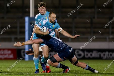 Stock Picture of Chris Pennell of Worcester Warriors is tackled