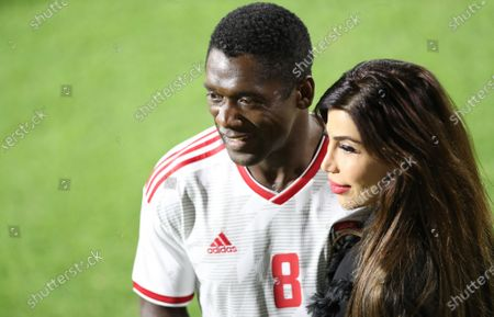 Former Dutch football player Clarence Seedorf (L) poses for a photo during an exhibition soccer match played by FIFA president Gianni Infantino and International legend players including Emiratis players and UAE officials in Gulf emirate of Dubai, United Arab Emirates, 08 January 2021.