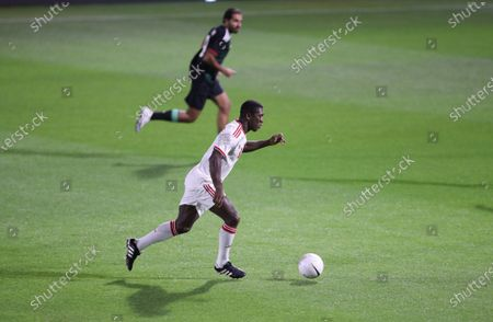 Former Dutch soccer player Clarence Seedorf (front) in action during an exhibition soccer match played by FIFA president Gianni Infantino with International legend players including Emiratis players and UAE officials in Gulf emirate of Dubai, United Arab Emirates, 08 January 2021.