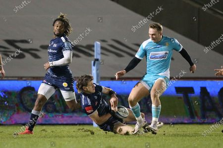 Sale Sharks Sam James  during the Gallagher Premiership Rugby match between Sale Sharks and Worcester Warriors at the AJ Bell Stadium, Eccles