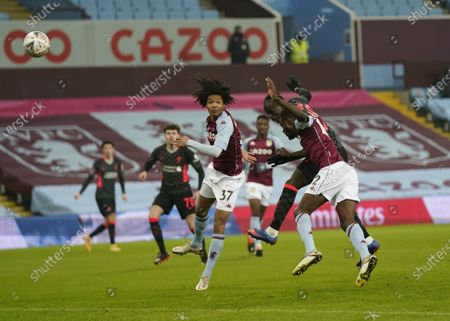 Sadio Mane of Liverpool scores his team's opening goal  during the English FA Cup third round match between Aston Villa and Liverpool in Birmingham, Britain, 08 January 2021.