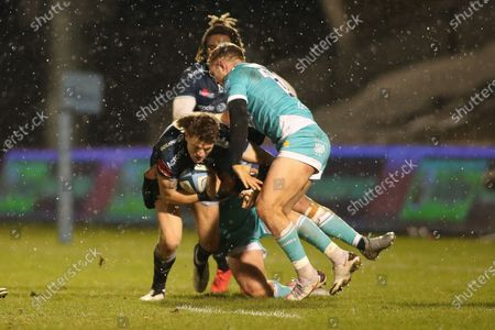 Stock Image of Sam James tries to break through  during the Gallagher Premiership Rugby match between Sale Sharks and Worcester Warriors at the AJ Bell Stadium, Eccles