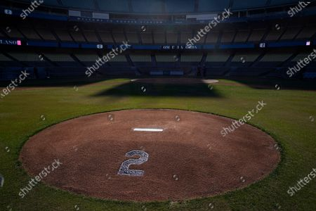 No. 2 is painted on the pitching mound in honor of Tommy Lasorda at Dodger Stadium, in Los Angeles. Tommy Lasorda, the fiery Hall of Fame manager who guided the Los Angeles Dodgers to two World Series titles and later became an ambassador for the sport he loved during his 71 years with the franchise, has died. He was 93