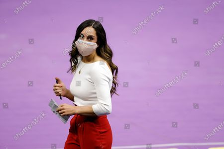 Stock Image of Arkansas head coach Jordyn Wieber during an NCAA gymnastics meet against LSU on in Baton Rouge, La