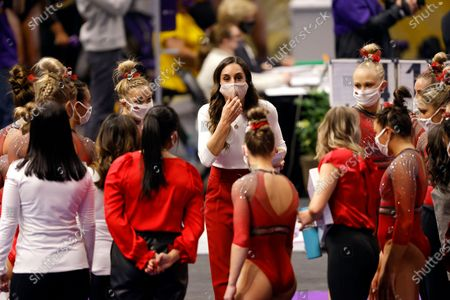 Stock Picture of Arkansas head coach Jordyn Wieber during an NCAA gymnastics meet against LSU on in Baton Rouge, La
