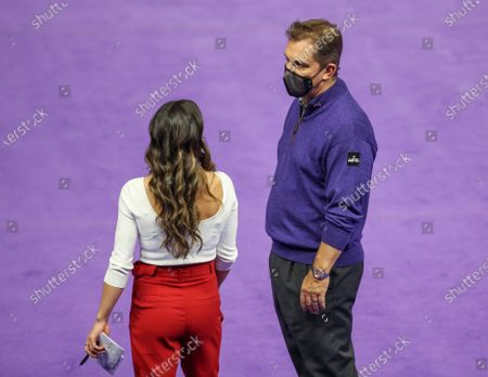 Stock Photo of LSU Head Coach Jay Clark speaks with Arkansas Head Coach Jordyn Wieber after NCAA Gymnastics action between the Arkansas Razorbacks and the LSU Tigers at the Pete Maravich Assembly Center in Baton Rouge, LA