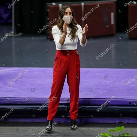 Arkansas Head Coach Jordyn Wieber cheers as one of her girls competes on the balance beam during NCAA Gymnastics action between the Arkansas Razorbacks and the LSU Tigers at the Pete Maravich Assembly Center in Baton Rouge, LA