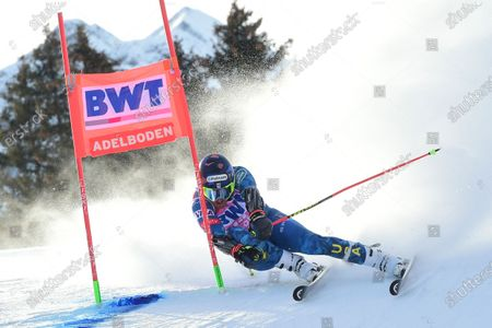 Stock Photo of United States' Ted Ligety speeds down the course during an alpine ski, men's World Cup Giant slalom, in Adelboden, Switzerland