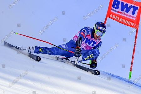 USA's Ted Ligety in action during the first run of the men's giant slalom race at the FIS Alpine Skiing World Cup in Adelboden, Switzerland, 09 January 2021.