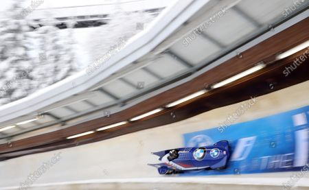 Elana Meyers Taylor and Lolo Jones of the USA in action during the first run of the women's Bobsleigh World Cup event in Winterberg, Germany, 09 January 2021.