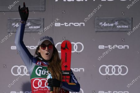 First placed Italy's Sofia Goggia celebrates at the end of an alpine ski, women's World Cup downhill in St. Anton, Austria