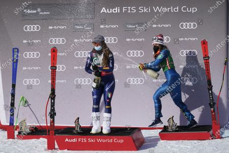 First placed Italy's Sofia Goggia, left, and third placed United States' Breezy Johnson celebrate at the end of an alpine ski, women's World Cup downhill in St. Anton, Austria