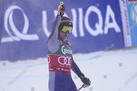 Italy's Sofia Goggia arrives at the finish area during an alpine ski, women's World Cup downhill in St. Anton, Austria