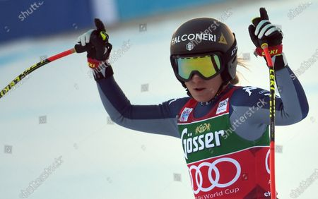 Sofia Goggia of Italy reacts in the finish area during the Women's Downhill race at the FIS Alpine Skiing World Cup in St. Anton am Arlberg, Austria, 09 January 2021.