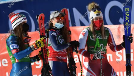 Second placed Tamara Tippler (R) of Austria, first placed Sofia Goggia (C) of Italy and third placed Breezy Johnson (L) of the US celebrate after the Women's Downhill race at the FIS Alpine Skiing World Cup in St. Anton am Arlberg, Austria, 09 January 2021.