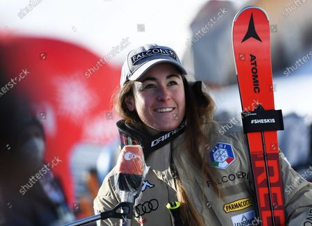 Sofia Goggia of Italy speaks with TV journalists in the finish area during the Women's Downhill race at the FIS Alpine Skiing World Cup in St. Anton am Arlberg, Austria, 09 January 2021.