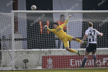 Matt Yates of Derby County watches as the ball rebounds off his crossbar during the The FA Cup match between Chorley and Derby County at Victory Park, Chorley