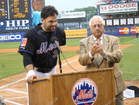 Mike Piazza And Tommy Lasorda Celebrate Mike Piazza Night At Shea Stadium, New York City, 06/18/2004.