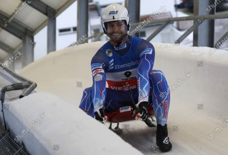 Chris Mazdzer of USA reacts in the finish area during the Men's second run of the Luge World Cup in Sigulda, Latvia, 09 January 2021.