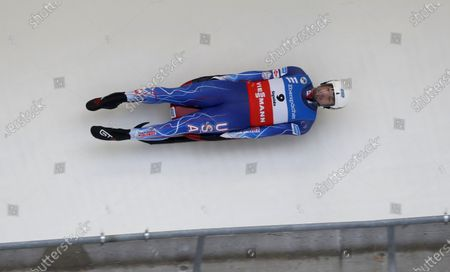 Chris Mazdzer of USA in action during the Men's first run of the Luge World Cup in Sigulda, Latvia, 09 January 2021.