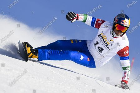 Roland Fischnaller of Italy in action during qualifying at the FIS Alpine Snowboard Parallel Giant Slalom event, in Scuol, Switzerland, 09 January 2021.