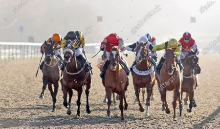 Stock Picture of TOROCHICA (centre, Charles Bishop) beats OSLO (left) in The Betway Casino Handicap Lingfield