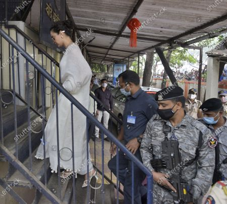 Stock Image of Actor Kangana Ranaut arrives at Bandra police station to record her statement in a sedition case filed against her, on January 8, 2021 in Mumbai, India.