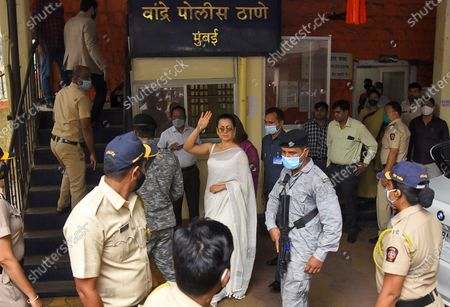 Actor Kangana Ranaut arrives at Bandra police station to record her statement in a sedition case filed against her, on January 8, 2021 in Mumbai, India.