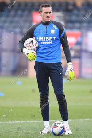 Preston North End goalkeeper (on loan from Leicester City) Daniel Iversen (22) during the FA Cup match between Wycombe Wanderers and Preston North End at Adams Park, High Wycombe