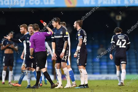 Southend United defender Jason Demetriou is shown a red card, sent off during the EFL Sky Bet League 2 match between Southend United and Barrow at Roots Hall, Southend