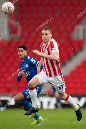 Ryan Shawcross of Stoke right fights for the ball against Leicester's Ayoze Perez