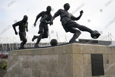 A statue of Sir Stanley Matthews is seen outside the Bet 365 Stadium
