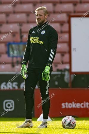 Leicester City Goalkeeper Kasper Schmeichel (1) before the FA Cup match between Stoke City and Leicester City at the Bet365 Stadium, Stoke-on-Trent