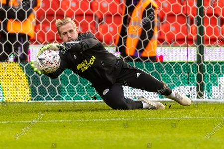 Leicester City Goalkeeper Kasper Schmeichel (1) practices before the FA Cup match between Stoke City and Leicester City at the Bet365 Stadium, Stoke-on-Trent
