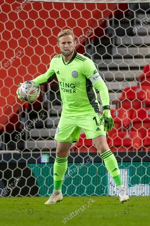 Leicester City Goalkeeper Kasper Schmeichel (1) during the FA Cup match between Stoke City and Leicester City at the Bet365 Stadium, Stoke-on-Trent