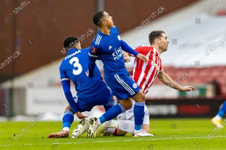 Leicester City Midfielder Youri Tielemans (8) & Leicester City Defender Wesley Fofana (3) win the ball off Stoke City Defender Ryan Shawcross(17) during the FA Cup match between Stoke City and Leicester City at the Bet365 Stadium, Stoke-on-Trent