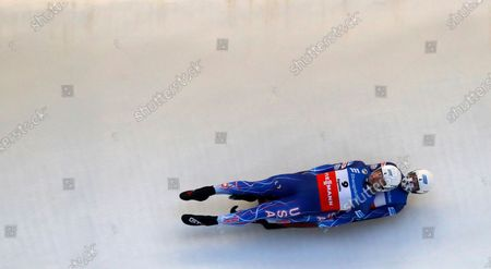 Chris Mazdzer and Jayson Terdiman of USA in action during the men's double competition at the Luge World Cup event in Sigulda, Latvia, 09 January 2021.