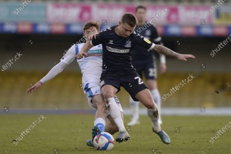 Jason Demetriou of Southend and Luke James of Barrow AFC in action during Sky Bet League Two match between Southend and Barrow AFC at Roots Hall in Southend, UK - 9th January 2021