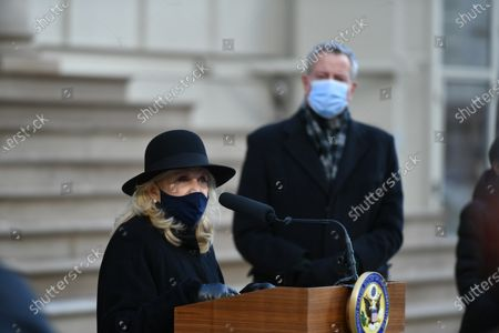 Congresswoman Carolyn Maloney joins members of New York's Congressional delegation for a press conference to demand the impeachment of President Trump on the steps of City Hall in New York.