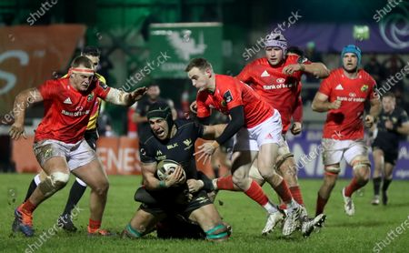 Connacht vs Munster. Connacht's Ultan Dillane tackled by Nick McCarthy of Munster