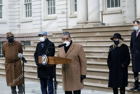 New York Congressman Adriano Espaillat (C) speaks at press conference to demand the impeachment of President Trump, in New York, New York, USA, 09 January 2021. House Democrats plan to introduce a single article of impeachment on 11 January charging President Trump with 'willfully inciting violence against the government of the United States'.