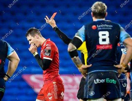 Cardiff Blues vs Scarlets. Scarlets' Liam Williams is sent off by Referee Craig Evans