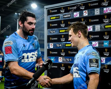 Cardiff Blues vs Scarlets. Cardiff Blues' Jarrod Evans is presented the Guinness PRO14 Man of the Match award by captain Cory Hill
